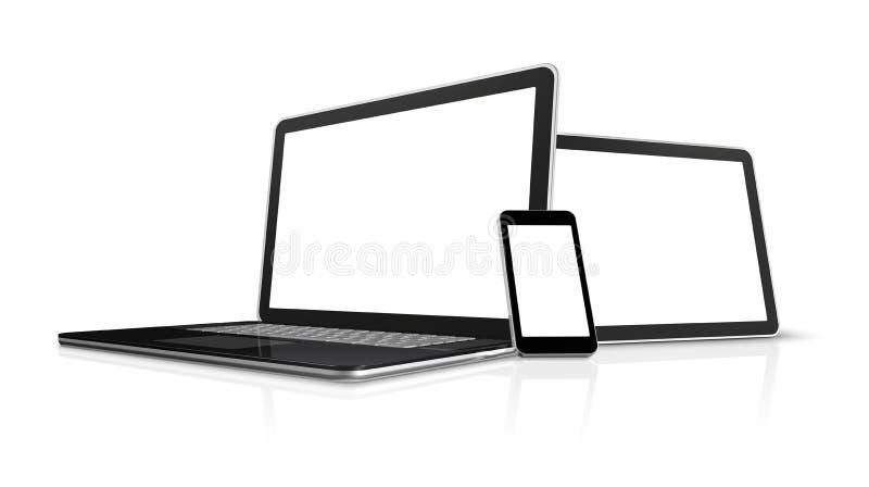Computer portatile, telefono mobile, pc digitale del ridurre in pani illustrazione vettoriale