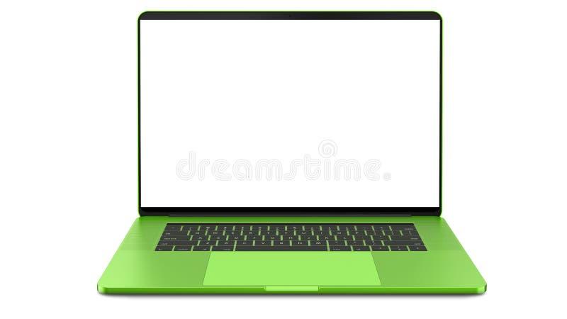 Computer portatile verde con lo schermo in bianco isolato su fondo bianco Intero a fuoco Su dettagliato fotografia stock libera da diritti