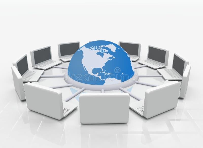 Computer portatili connessi illustrazione vettoriale