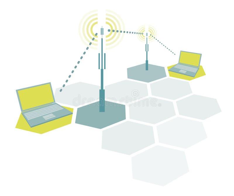 Computer portatili di collegamento/comunicazione semplice senza fili della rete royalty illustrazione gratis