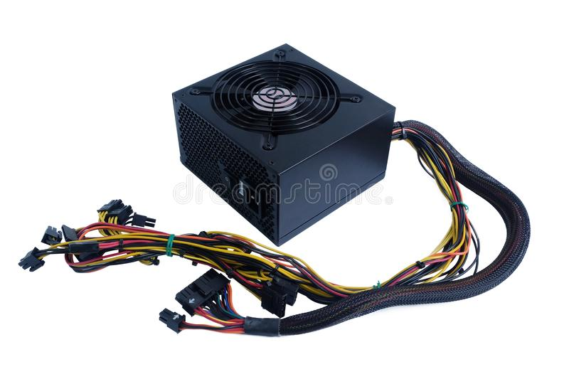 Computer power supply black color with cables unit for pc computer stock photos