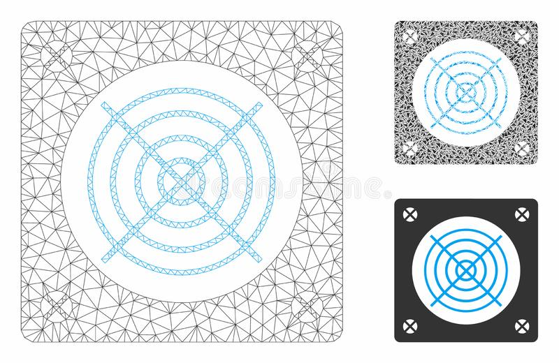 Computer Power Supply Vector Mesh Carcass Model and Triangle Mosaic Icon. Mesh computer power supply model with triangle mosaic icon. Wire carcass triangular royalty free illustration