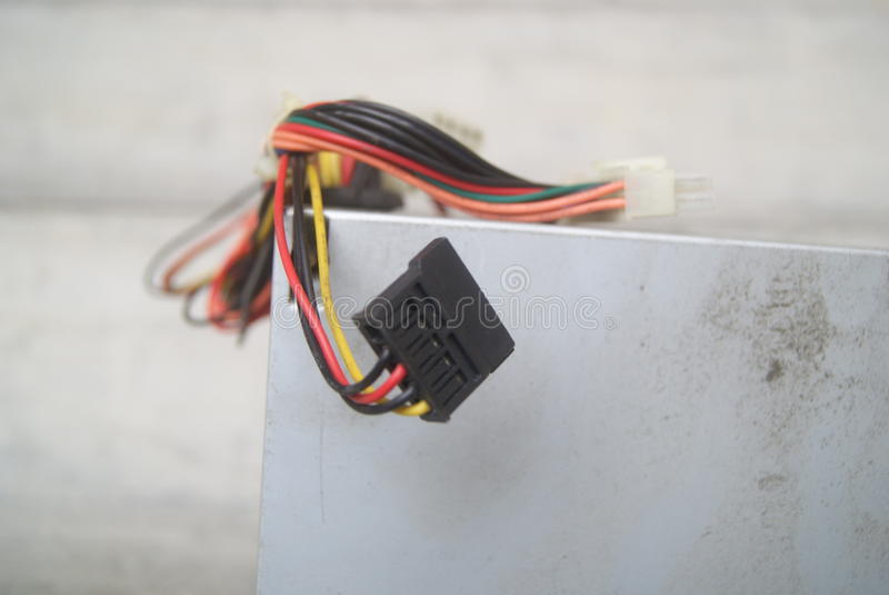 Computer power supply wire stock photos