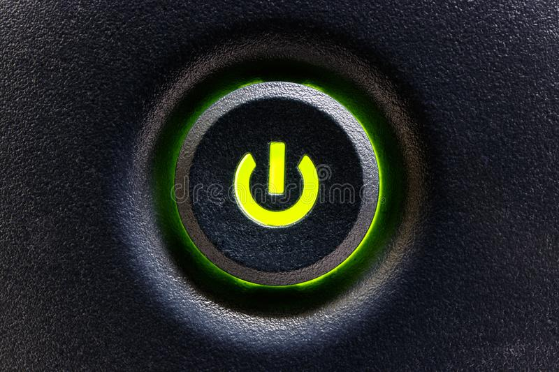 Computer Power Switch or Button with Green Highlight I stock photos