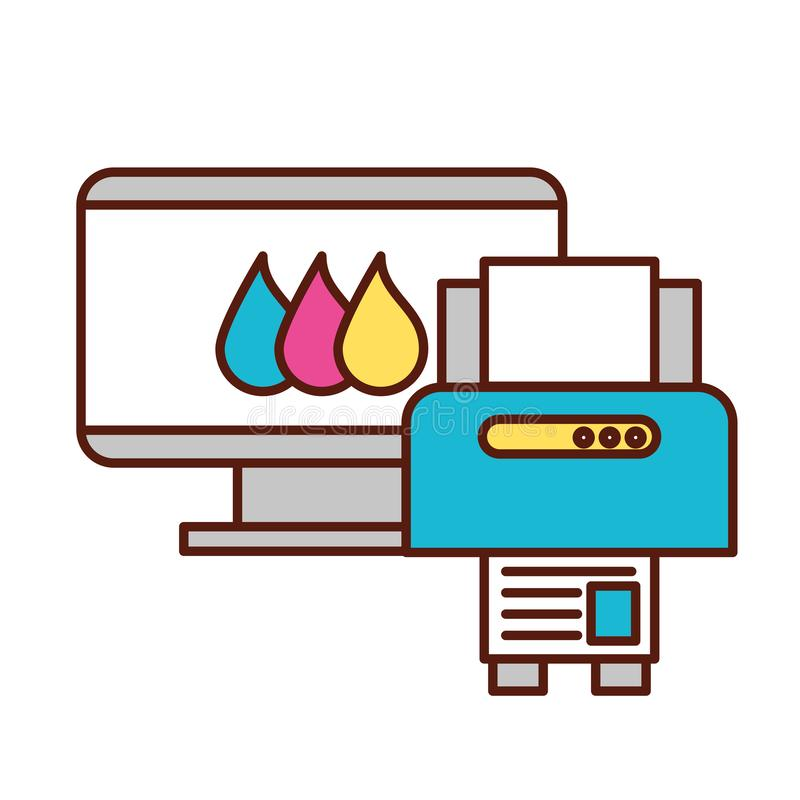 Computer and printer devices graphic design tool. Vector illustration vector illustration