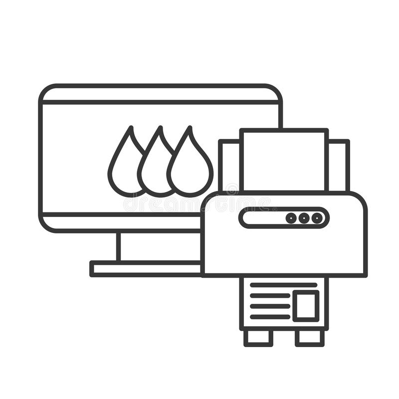 Computer and printer devices graphic design tool vector illustration