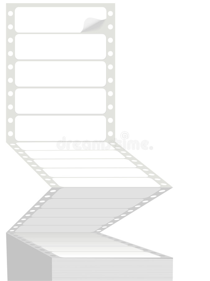 Computer Printer Fanfold Pinfeed Address Labels royalty free illustration