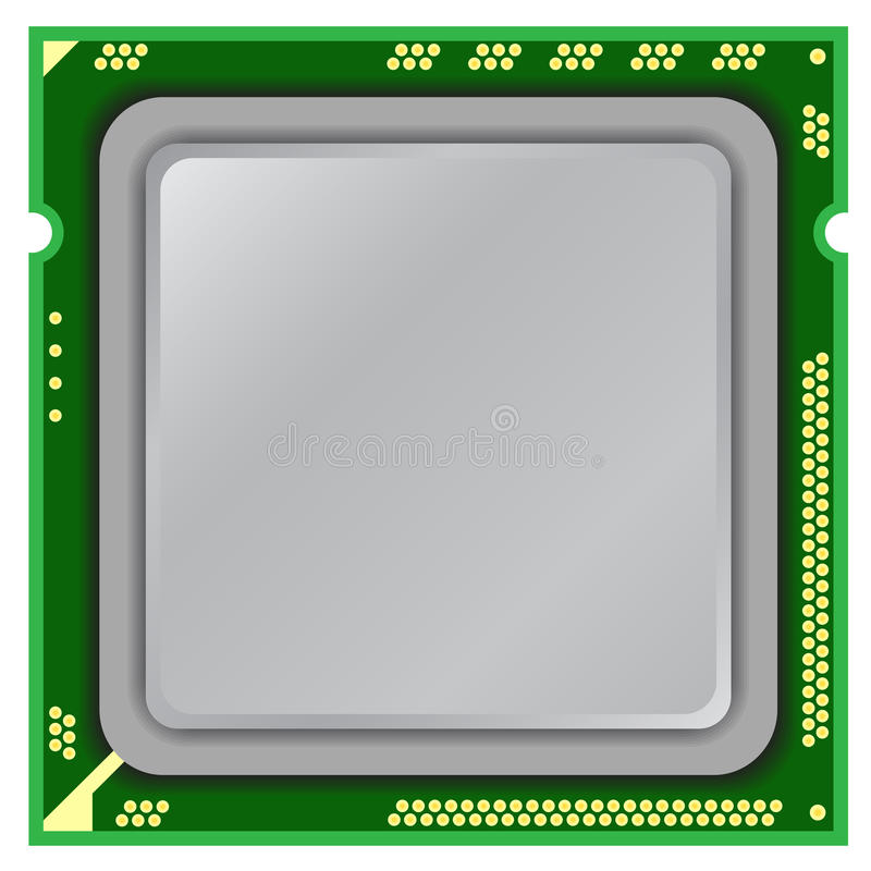 Computer processor. Modern computer processor on a white background vector illustration