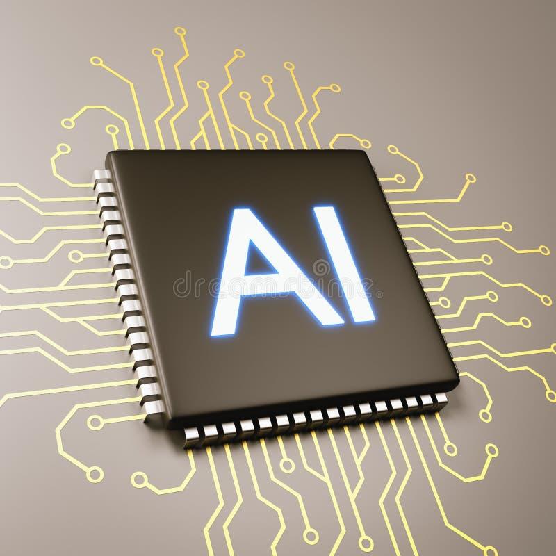 Computer Processor Artificial Intelligence Concept. Computer Processor with AI Text 3D Illustration, Artificial Intelligence Concept stock illustration