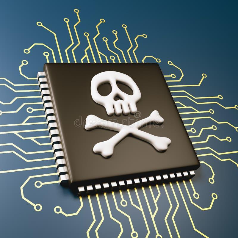 Computer Processor Bug Security Concept. Computer Processor with Pirate Symbol Skull 3D Illustration, Security Concept vector illustration