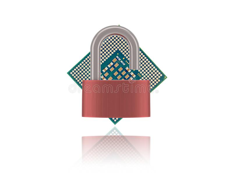 Download Computer Processor Chip With Unlocked Padlock Stock Illustration - Illustration of communication, engineering: 107114117