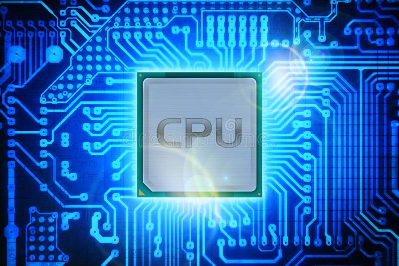 Computer Processor. On Circuit Board Background. Computers Technology stock illustration
