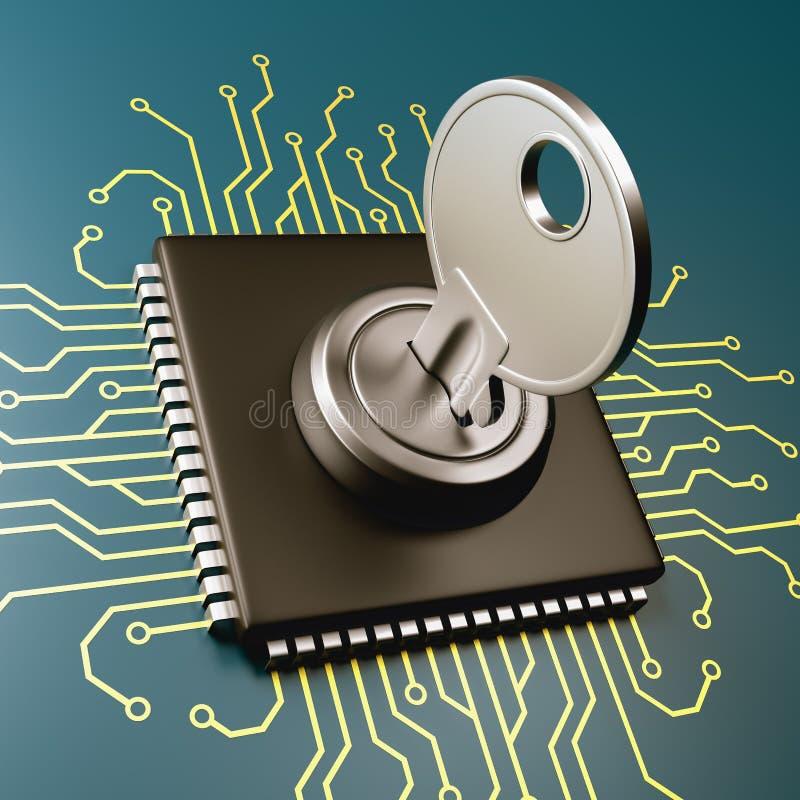 Computer Processor Security Concept. Computer Processor with Key 3D Illustration, Security Concept stock illustration