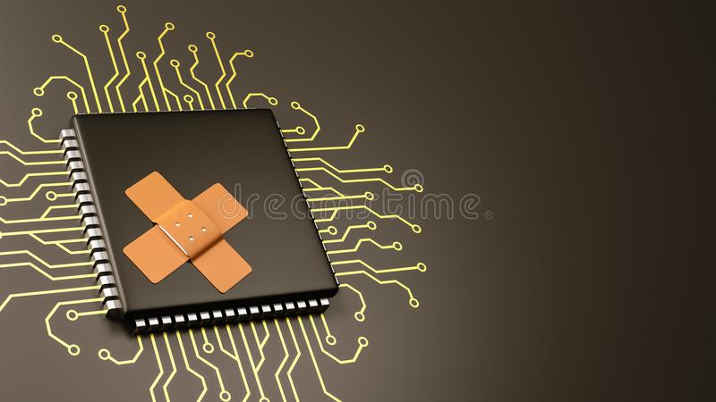 Computer Processor Bug Patch Concept. Computer Processor with Patch with Copyspace 3D Illustration, Security Concept stock illustration