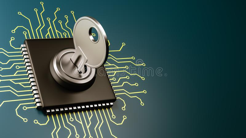 Computer Processor Security Concept. Computer Processor with Key with Copyspace 3D Illustration, Security Concept royalty free illustration
