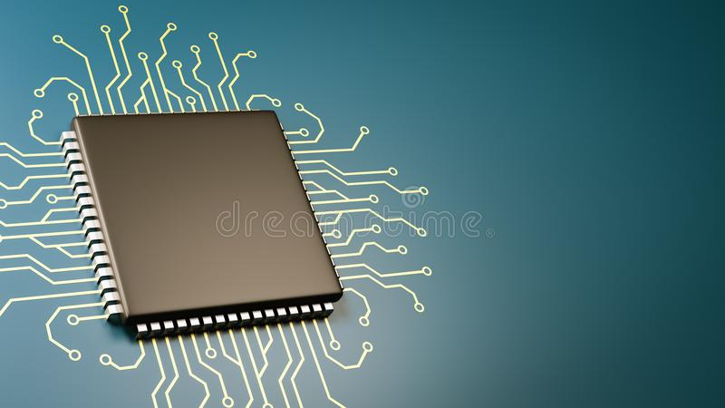 Computer Processor Technology. Computer Processor with Integrated Circuit with Copyspace 3D Illustration vector illustration
