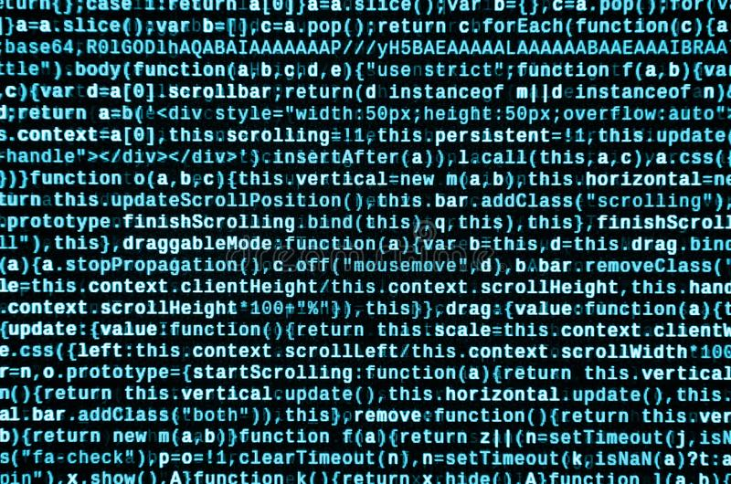 Computer program preview. Programming code typing. Information technology website coding standards for web design. Modern tech. CSS, JavaScript and HTML usage stock photo
