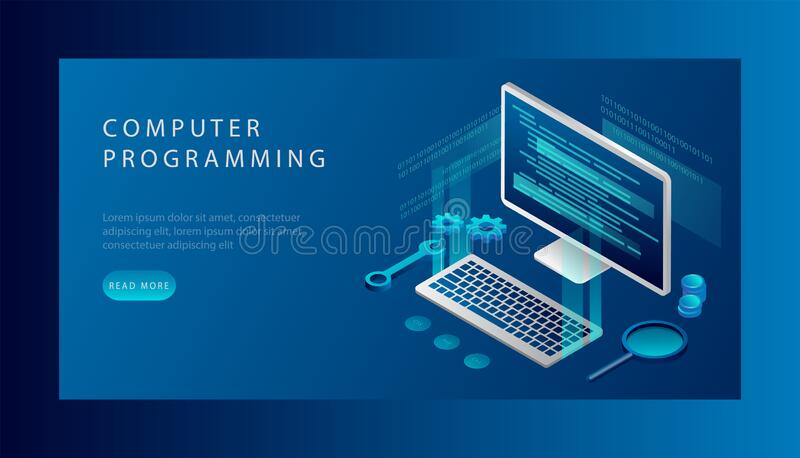 Computer Programming Concept. Software Development and Programming, Program Code on Laptop Screen, Big Data Processing. Computing. Isometric Vector stock illustration