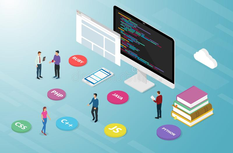 Computer programming script code with various options icon popular list language with isometric modern style - vector royalty free illustration