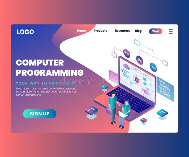 Computer Programming, Where People are make a mobile app isometric artwork Concept royalty free stock images