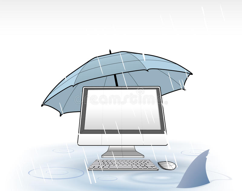 Download Computer protection stock vector. Image of rain, illustration - 21581592