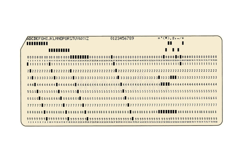 Computer Punch Card. Old computer punch card on white background royalty free illustration
