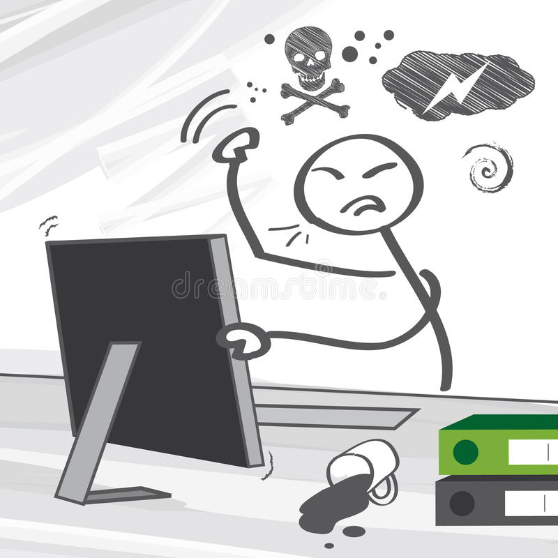 Computer rage. May manifest itself in angry utterances at the object, and in some extreme cases, violent actions towards the hardware itself royalty free illustration