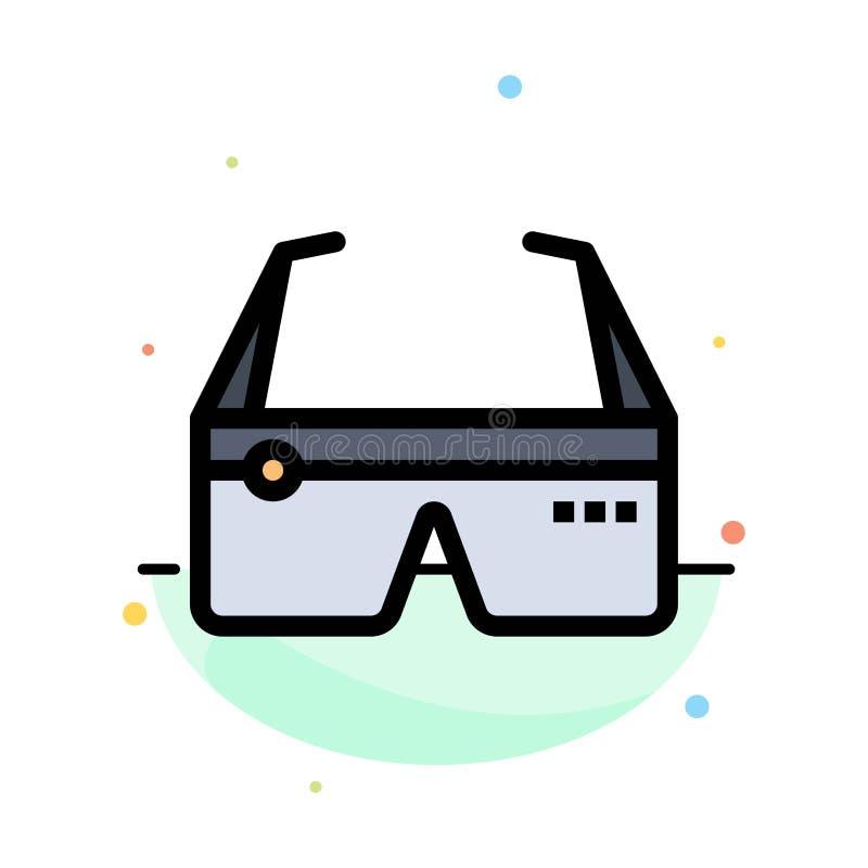 Computer, rechnend, Digital, Gläser, Google-Zusammenfassungs-flache Farbikonen-Schablone stock abbildung