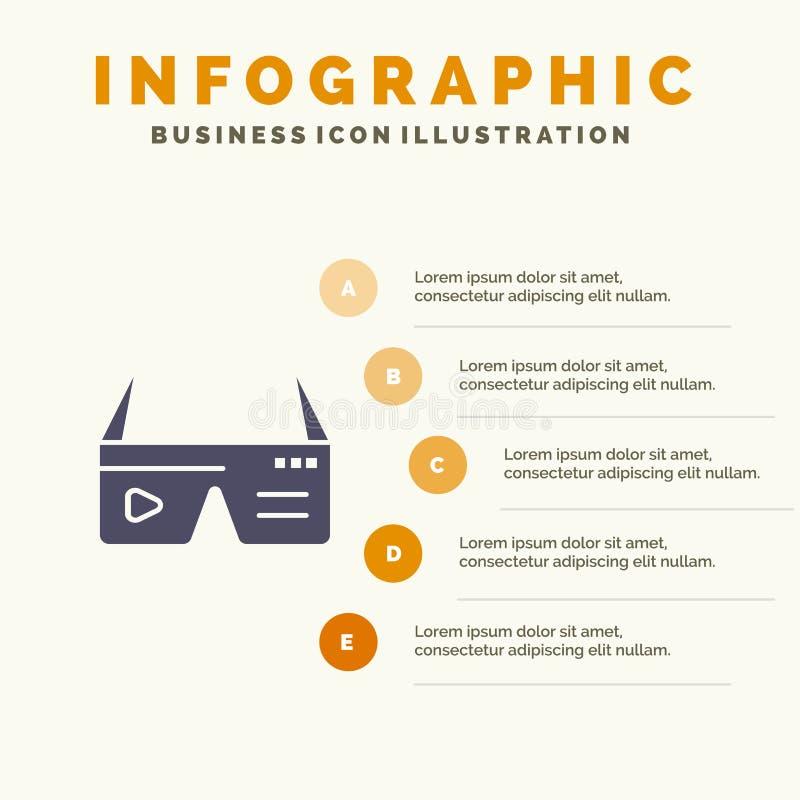 Computer, rechnend, Digital, Gläser, Ikone Googles fester Schritt-Darstellungs-Hintergrund Infographics 5 stock abbildung