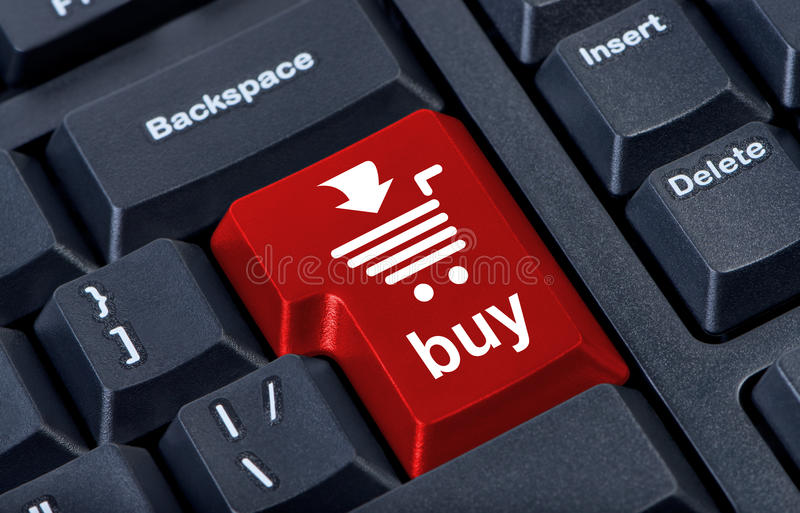 Computer red button buy with cart,