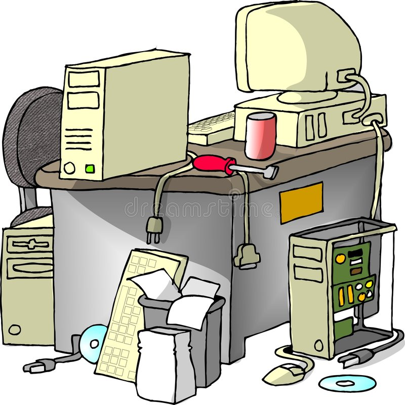 Computer Repair. This illustration that I created depicts a desk with computer parts all around stock illustration