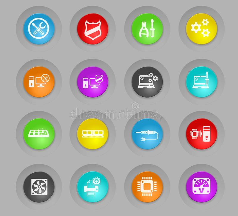 Computer repair colored plastic round buttons icon set stock illustration
