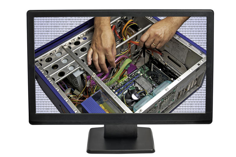 Computer Repair. High end Computer being repaired stock photo