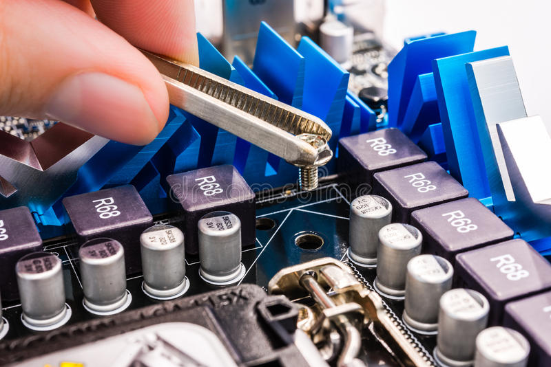 Download Computer Repair, Installation Motherboard Stock Photo - Image: 33676518