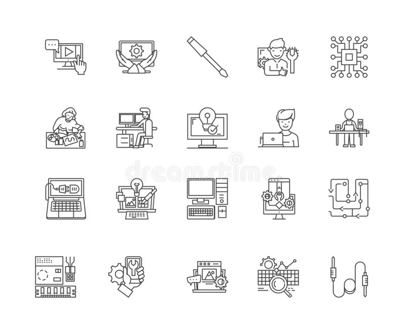 Computer repair line icons, signs, vector set, outline illustration concept royalty free illustration