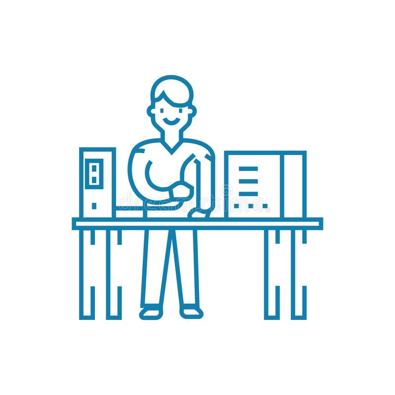 Computer repair linear icon concept. Computer repair line vector sign, symbol, illustration. royalty free illustration