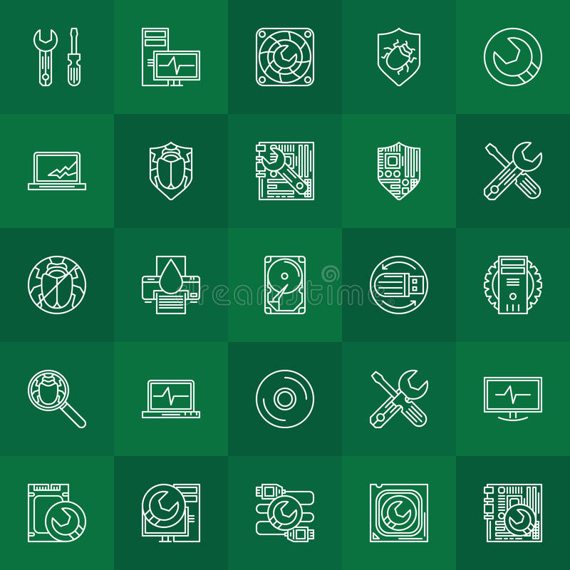 Computer repair linear icons royalty free illustration