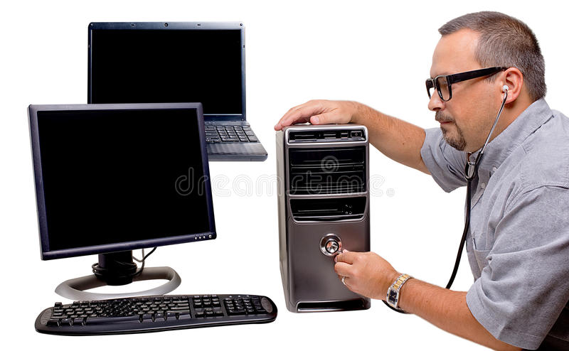 Computer Repair. A nerdy looking repairman with stetescope inspecting a PC, isolated on white. The PSD file has the elements silod and on separate layers stock image