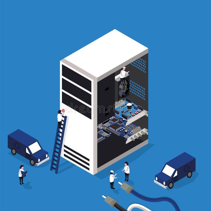 Computer repair service flat 3D isometric stock illustration