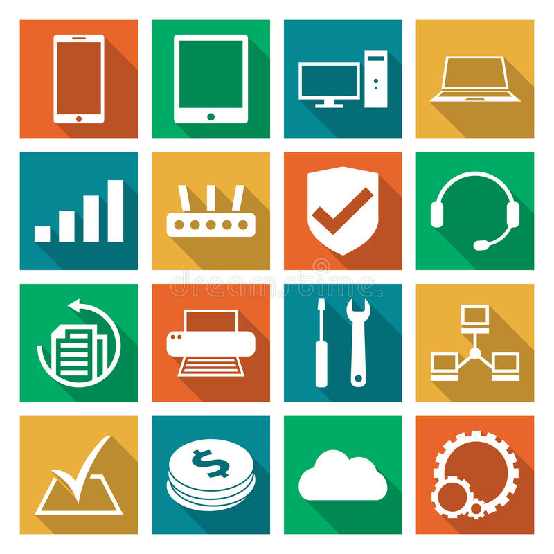 Computer repair service icons set royalty free stock images