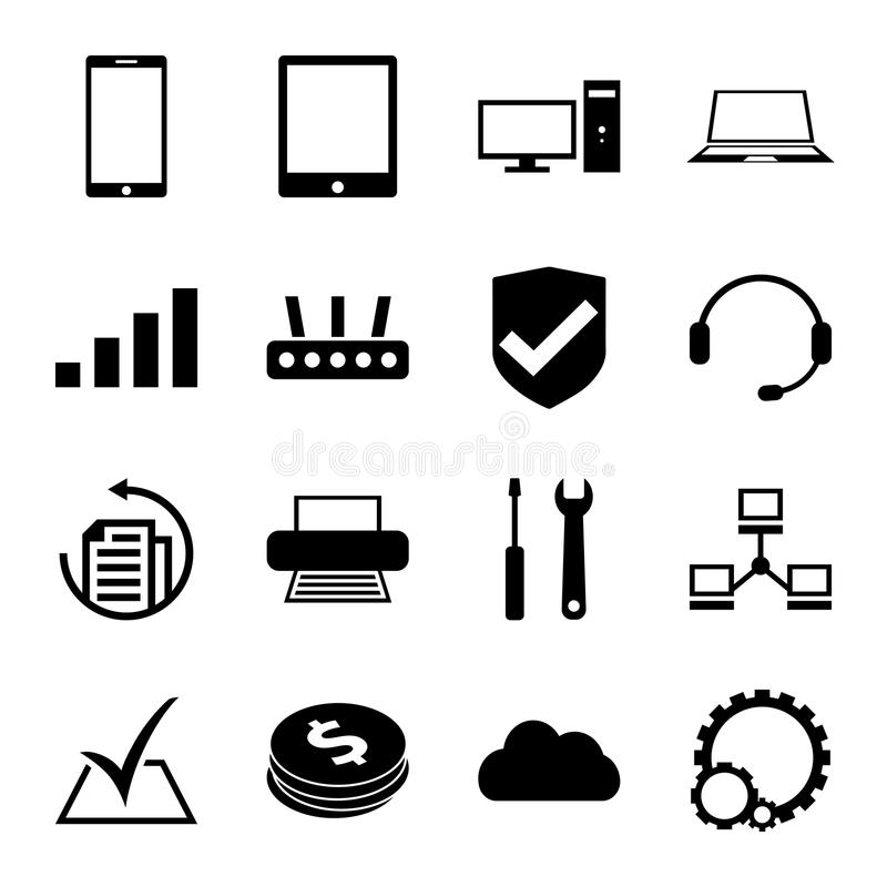 computer repair service icons set monochrome stock vector
