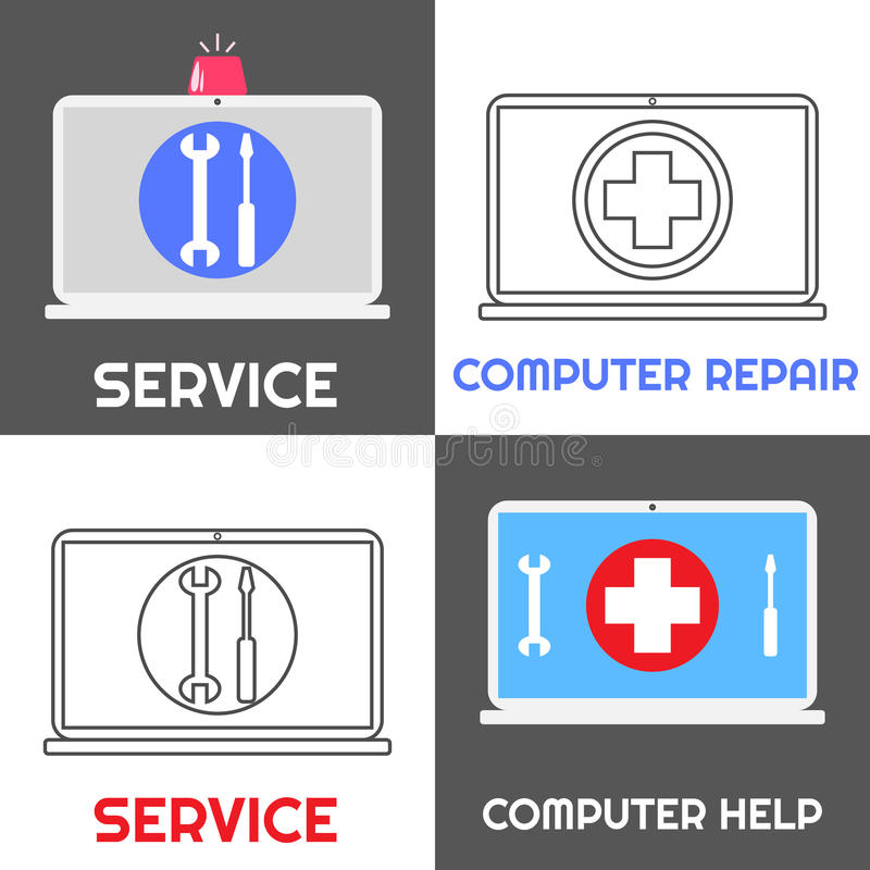 Computer repair service. Laptop help icon set stock illustration