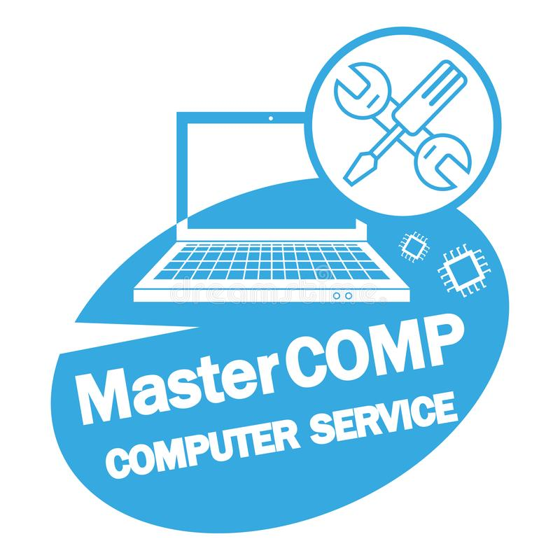 Computer repair service. Laptop with screwdriver and wrench. PC repair label. Desktop Service royalty free illustration