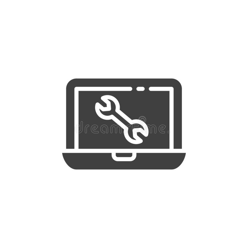 Computer repair service vector icon. Filled flat sign for mobile concept and web design. Laptop screen with wrench glyph icon. Symbol, logo illustration vector illustration