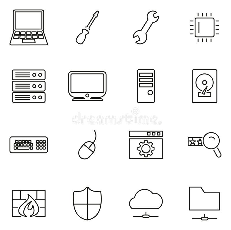 Computer-Reparatur-oder Computer-Service-Ikonen-dünne Linie Vektor-Illustrations-Satz lizenzfreie abbildung