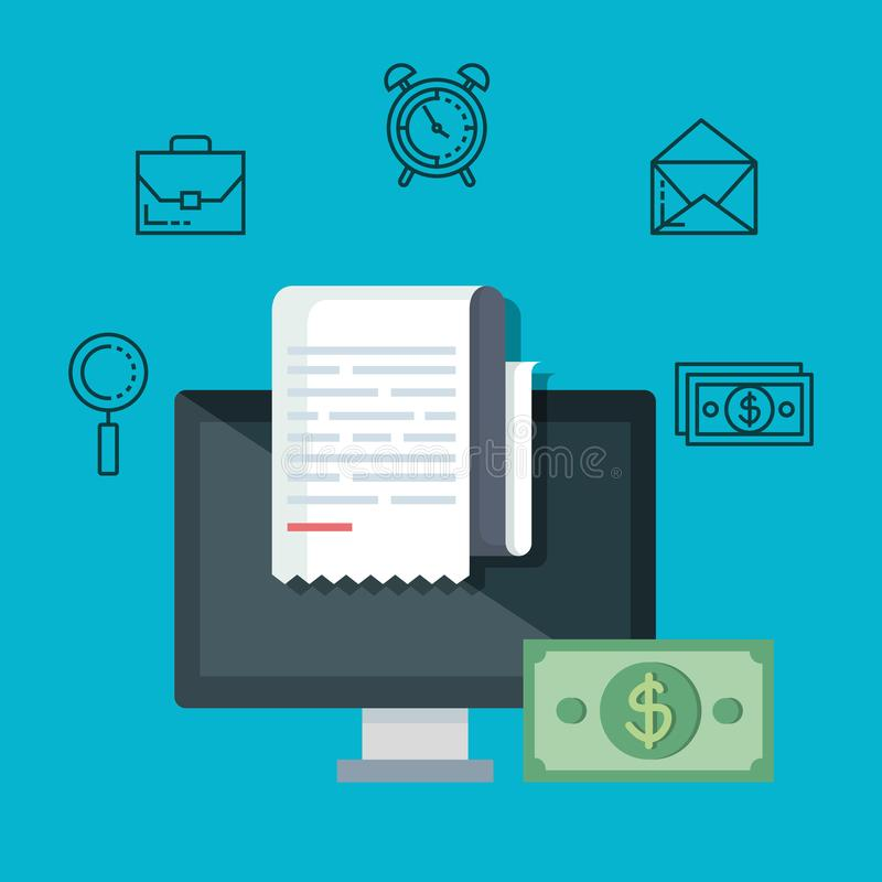Computer with report service tax and bill. Vector illustration royalty free illustration