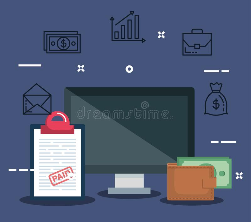 Computer with report tax and wallet with bill. Vector illustration stock illustration