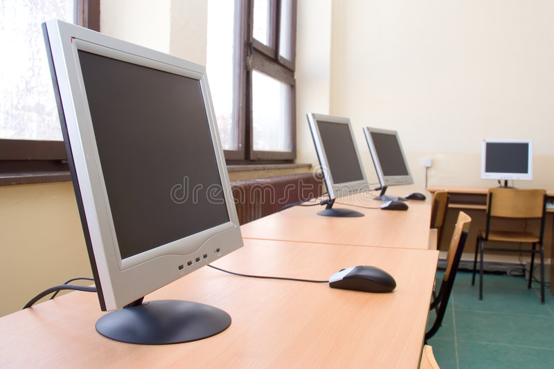 Computer room. Empty computer training room stock photos