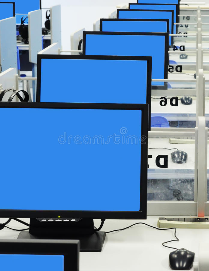 Computer room blue screen stock images