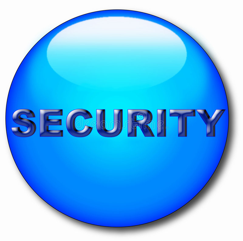 Computer round icon with word of security stock illustration
